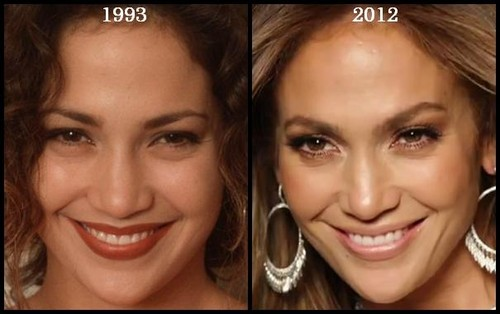 Jennifer Lopez then and now, before and after (1993, 2012)