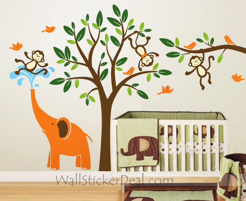 Animal Paradise Monkey With Elephant And Birds Wall Sticker