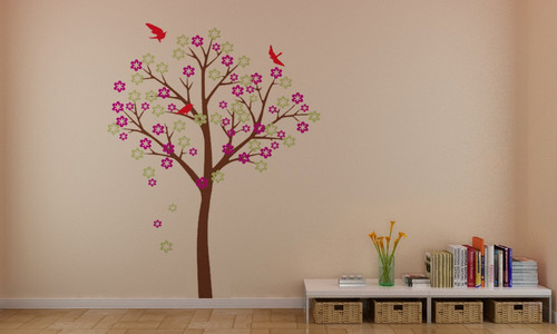 Beautiful ciliegia Blossom albero With Birds bacheca Stickers