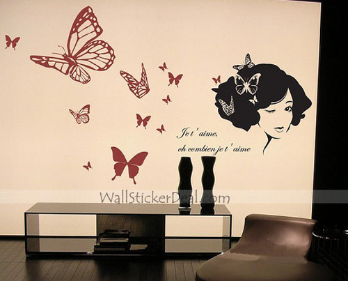 Beautiful Lady with Butterfly Wall Stickers