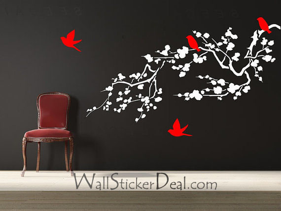 Birds and Cherry Blossom Branches Wall Stickers