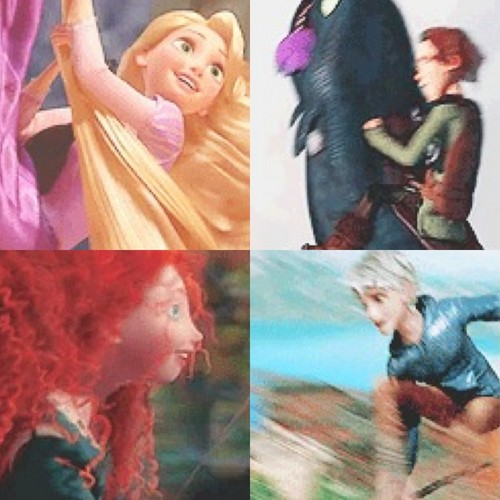 Jack, Rapunzel, Merida, and Hiccup