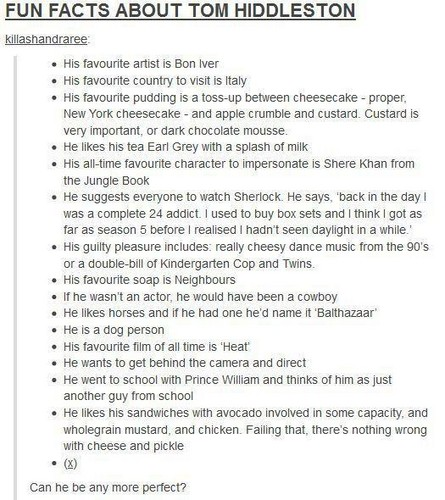 Fun Facts About Tom Hiddleston