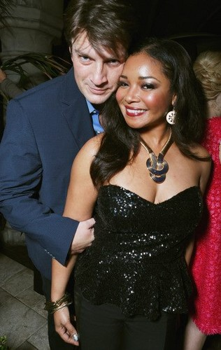 Actors Nathan Fillion and Tamala Jones attend the Entertainment Weekly Pre-SAG Party