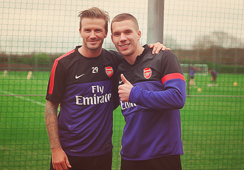 David Beckham and Lukas Podolski