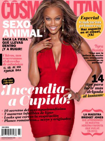 Tyra Banks on the cover of COSMOPOLITAN magazine Mexico, February 2013