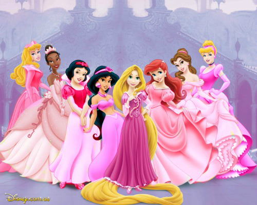 disney Princess in berwarna merah muda, merah muda gaun