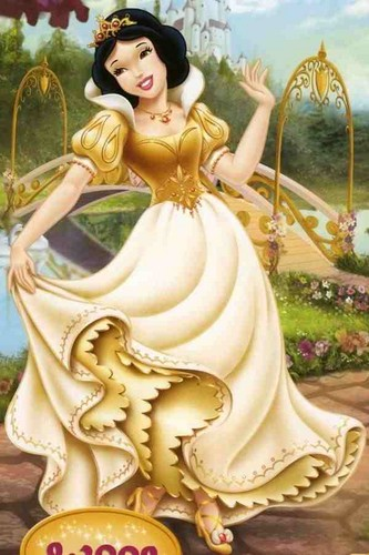 Snow White with golden گاؤن, gown