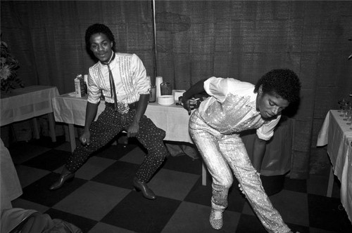 Michael And Older Brother Marlon, Backstage While On Tour