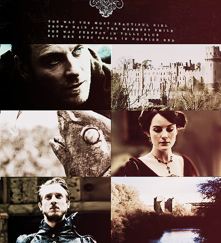 Lord Hoster Tully, Lady Minisa Tully and Brynden Tully