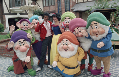Michael Hanging Out With Snow White And The Seven Dwarfs