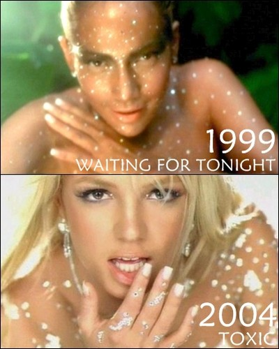 Britney Spears copies Jennifer Lopez (Waiting for tonight 1999 vs Toxic 2004)