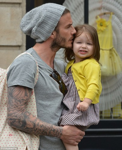 David and Victoria with Harper Seven in Paris