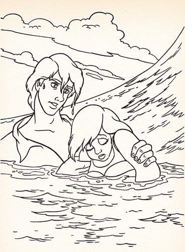 Walt Disney Coloring Pages - Prince Eric & Princess Ariel