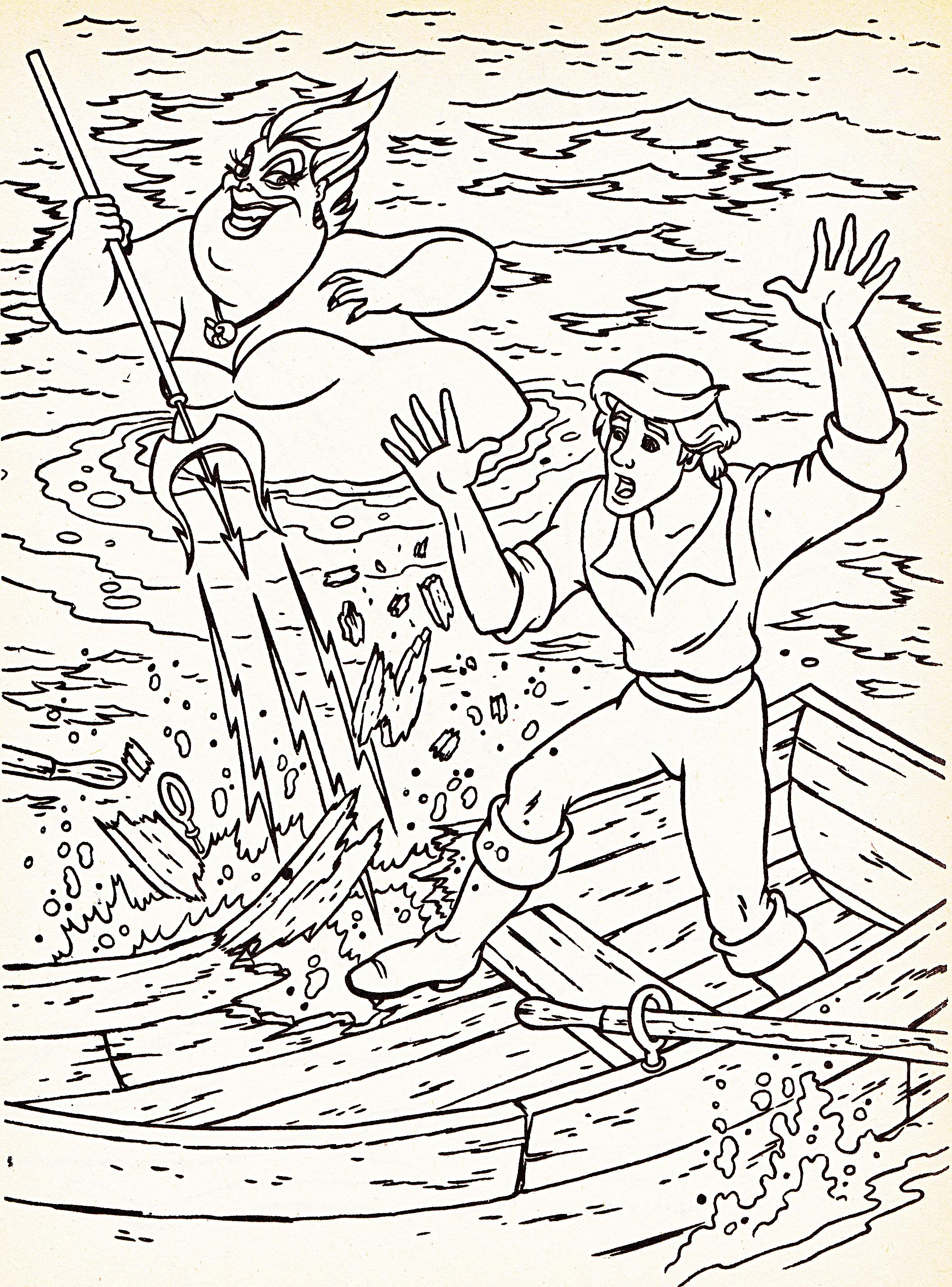 Walt Disney Coloring Pages - Ursula & Prince Eric - Walt ...