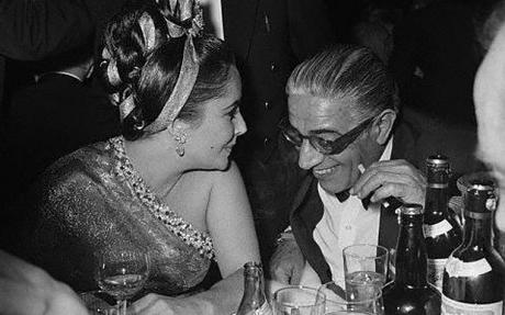 Aristotle Onassis with Elizabeth Taylor in 1964