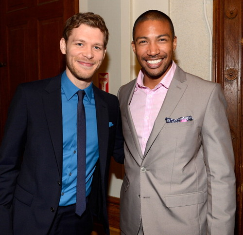 Joseph morgan and Charles Michael Davis at The CW's 2013 Upfront