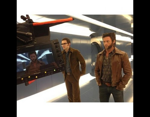 Nicholas & Hugh on set: X-Men Days of Future Past