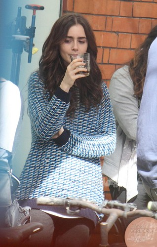 "Lily filming ""Love, Rosie"" in Dublin, Ireland (27th May 2013)"