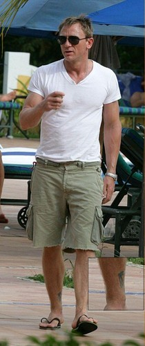 Daniel Craig With Ankle Tattoo