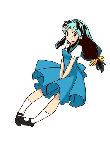 Lum wearing AKane's school uniform