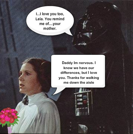 Vader and Leia share a moment