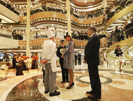 Kate Middleton takes a tour of the Princess Cruises ship