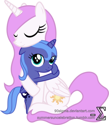 Luna and Celestia Hugging