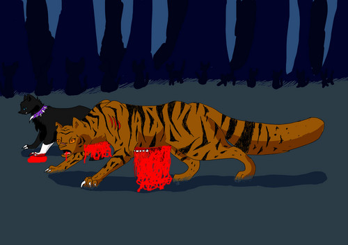 tiger with mais blood