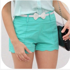 Super cute shorts with white bow belt.