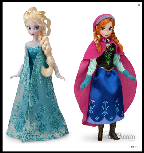 Anna and Elsa Disney Store dolls