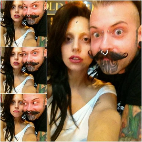 Gaga at a tattoo studio in Chicago (Aug. 9)