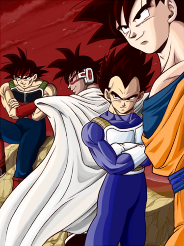Vegeta, Bardock, Turles and Goku