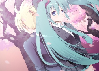 cherryblossoms miku and len