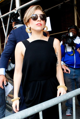 Gaga Arriving at Z100 Studios (Aug. 19)