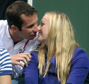 Kvitova and Stepanek kisses in the stands