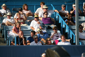 Radek Stepanek watches Petra Kvitova's match