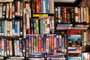 Shelf of VHS Tapes