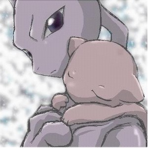 Cute Mew and Mewtwo