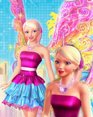 Barbie's pink and Blue Fairy Outfit
