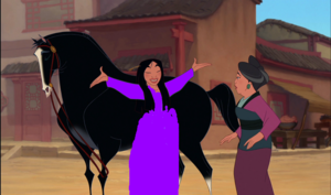 Mulan dressed in purple
