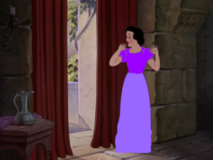Snow White dressed in purple