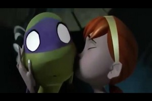April kisses Donatello