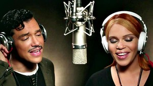 El DeBarge And Faith Evans In The Recording Studio