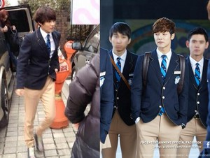 Taemin spotted wearing Jeguk High School uniform. Is he going to cameo on The Heirs ?