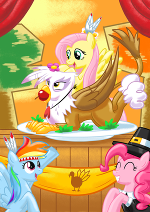 Happy Thanksgiving with Pinkie, Fluttershy, bahaghari Dash, and Gilda