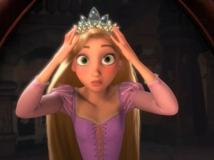 Rapunzel trying on her tiara