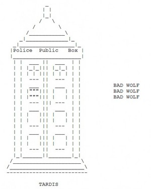Doctor Who ASCII Art from http://thatgrrl.hubpages.com/hub/Doctor-Who-in-ASCII-Art