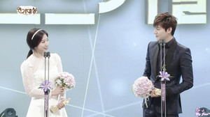 Lee Min Ho and Park Shin Hye at the SBS Drama Awards