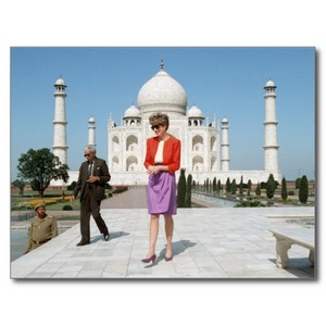 Princess Diana at the Red Fort in front of the Taj Mahal in 1992